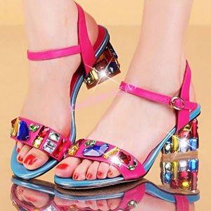 Brand New Rhinestone Open Toe Sandal (US Size 10)